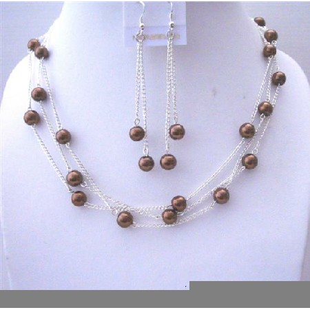 Bridesmaid Bronze Faux Pearl 3 Stranded Handcrafted Necklace w/ Dangling Earrings Jewelry Set