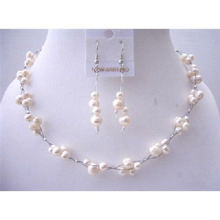 Freshwater Pearl Choker Set Bridesmaid Interwoven Wire Necklace Set w/ Dangling Earrings