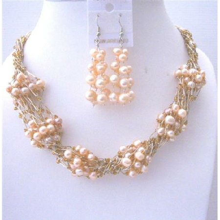Handmade Peach FresshWater Pearl Necklace Earrings Sets Multi Stranded Necklace w/ Glass Beads