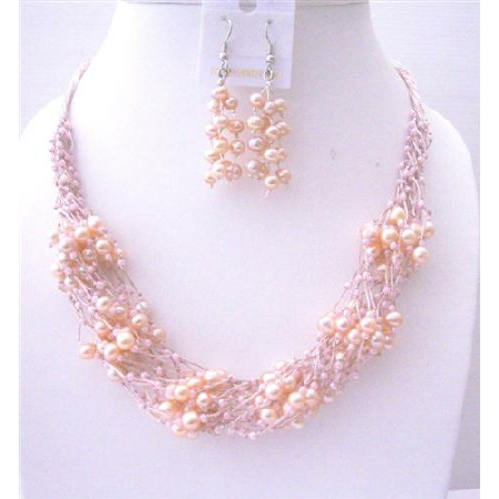 Pink FresshWater Pearl Jewelry Set w/ Glass Beads Multi Silver strands Necklace & Sterling Silver Earrings