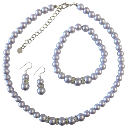 Lavender Pearls Jewelry Set Faux Lavender Pearl Bridesmaid Sterling Silver 92.5 Earrings w/ Stretchable Bracelet