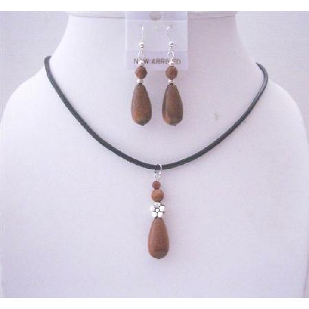 Brown Sandstone Teardrop Pendant Jewelry Set w/ Black Chord Necklace