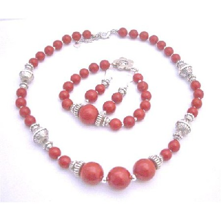 Coral Jewelry Set Ethnic Traditional Bali Silver Coral Round Beads Necklace Earrings & Bracelet Coral Jewelry Set