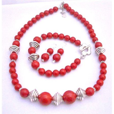 Traditional Coral Jewelry Set Necklace Earrings & Bracelet Bali Silver Spacer Coral Jewelry