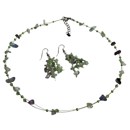 Necklce Sets UNder Fluoritr Glass Beads Nugget Chips w/ Immitation Crystals & Tiny Glass Beads In Floating Illusion String