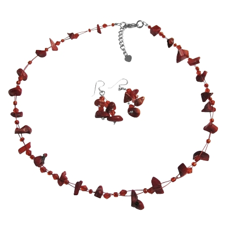 Coral Nugget Necklce Sets UNder Jewelry Glass Beads W/ Immitation Crystal Accented Floating Illusion String