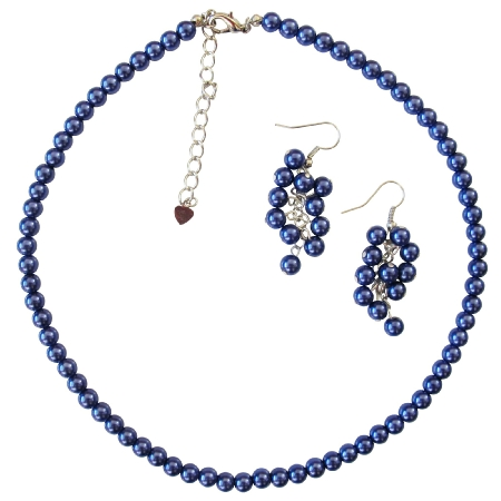 Blue Pearls Necklace Earrings Set Dark Blue Pearl Wedding Jewelry Set