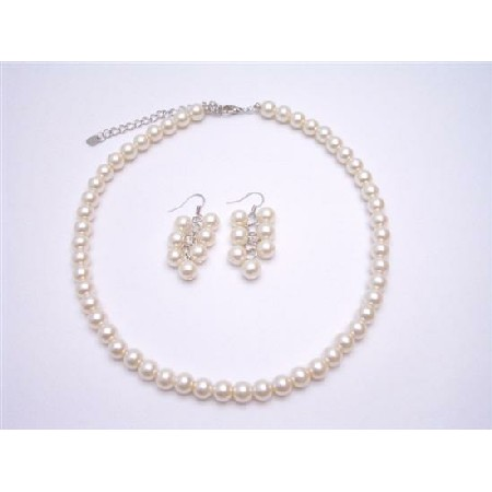 Ivory Pearls Bridal Bridesmaid Flower Girl Wedding Jewelry Set Affordable Under Jewelry Set
