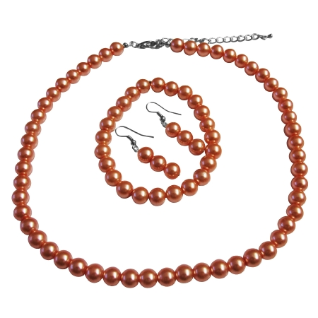 Striking Orange Pearl Complete Set with Bracelet Wedding Prom Jewelry Set Under Smashing Jewelry Set