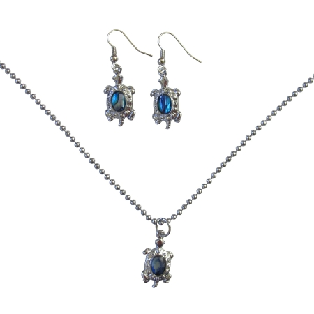 Cute Turtle Pendant & Earrings Dangling Necklace Set Mother Of Shell Abalone Coated under Jewelry Set