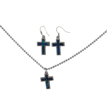 Christmas Gift Jewelry Cross Pendant Mother of Shell cross Pendant w/ Silver Outlined Cross Pendant Necklace Set Affordable Under Jewelry Set