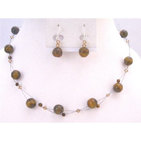 Floating Illusion Necklace Set Swarovski Lite Colorado Crystals w/ Tiger Eye Glass Beads Under $15 Jewelry Set