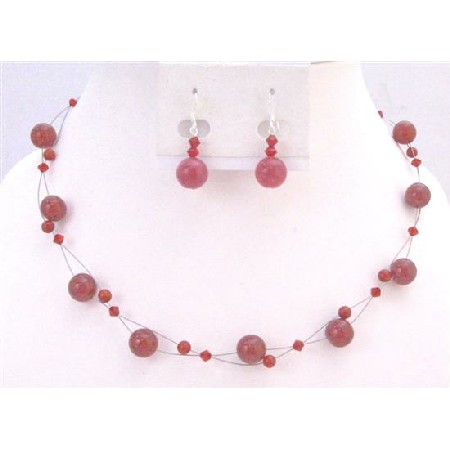 Passionate Siam Red Swarovski Crystals Necklace Set Affordable Under $15 with Red Glass Beads Cheap Wedding Jewelry Floating set