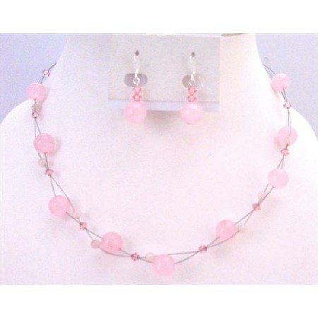Wedding Pink Jewelry Rose Quartz Fancy Glass Beads with Swarovski Rose Crystals Floating Illusion set