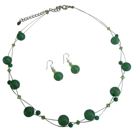 Cheap Wedding Jewelry Bridesmaid Green Dress Jewelry Swarovski Peridot Crystal with Jade Glass Beads Necklace Set