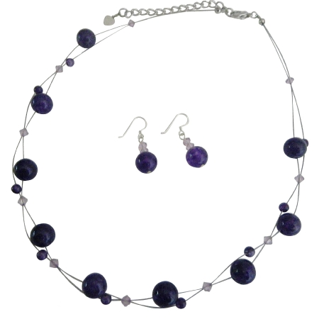 Inexpensive Wedding Jewelry Set Amethyst Swarovski Crystals Floating Illusion Necklace Set w/ Amethyst Glass Beads