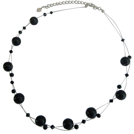 Jet Crystal Jewelry Set Swarovski Affordable Necklace Set with Agate Glass Beads Floating Necklacec Set