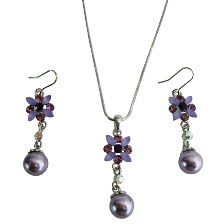Purple Amethyst Wedding Jewelry Set Purple Enamel Flower Necklace Set w/ Pearl Dangling Set Beautiful Affordable Jewelry