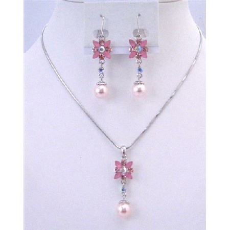 Cheap Bridesmaid Jewelry Set Pink Pearl Rhinestone Wedding Necklace Set Flower Necklace Set w/ Pearl Dangling Set Under $15 Jewelry
