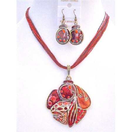 Red Enamel Ethnic Painted Pendant Earrings w/ Multi Stranded Necklace Striking Smashing Red Necklace Set