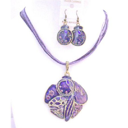 Artform Vintage Purple Necklace Set Painted Artistically Designed Amethyst Jewelry Affordable Under Necklace Set