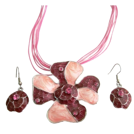 Multi Stranded Pink Necklace Set Vintage Gorgeous Artistically Designed Pink Necklace Set Inexpensive Jewelry