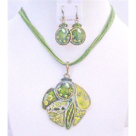 GIft Jewelery Under High Quality Olivine Necklace Set Multi Stranded Olivine Christmas Party Jewelry