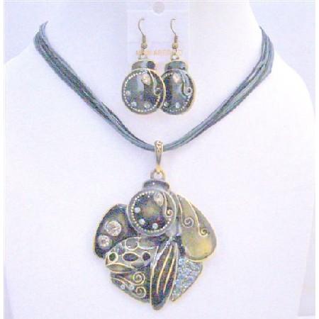 Black Grey Vintage Multi Stranded Painted Ethnic Necklace Earrings