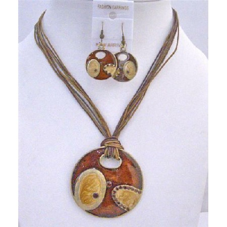 Brown Gold Round Pendant Striking Affordable Multi Strings Jewelry Set