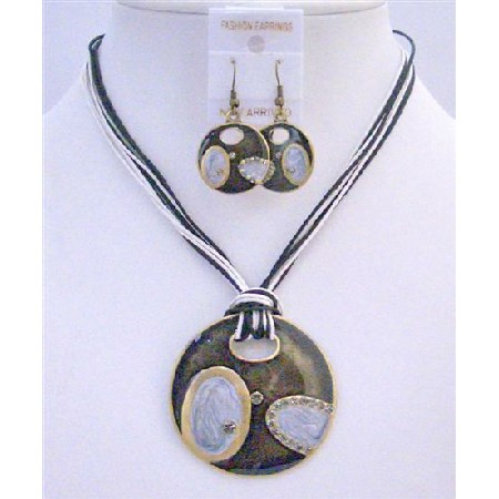 Black & White Multi String Round Pendant Ethnic Evening Gift Jewelry