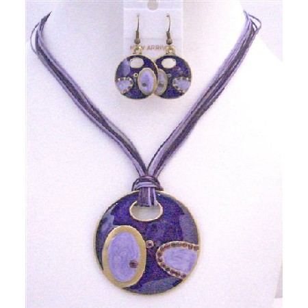 Ethnic Round Pendant Purple Amethyst Costume Multi String Necklace
