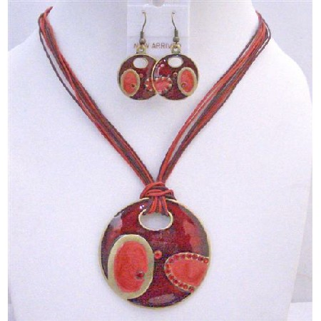 Ethnic Round Red Pendant Costume Jewelry Set Red Multi String Necklace