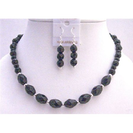 Custom Black Faceted Round Beads Oval Faceted Beads Necklace Earrings