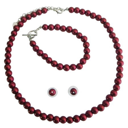 Red Pearl Complete Set Necklace Earrings Bracelet Beautiful Red Pearl Wedding Bridesmaid Flower Girls Jewelry Set