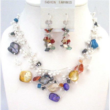 Dyed Shells Woven In Silk Thread Glass Beads Onyx Turquoise Necklace