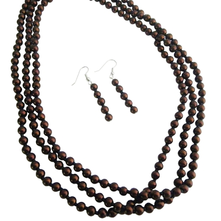 Three Stranded Brown Pearl Bridesmaid Brown Wedding Necklace Set