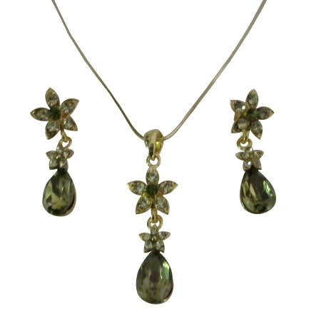 Golden Chain Necklace Olivine Teardrop Golden Flower Party Jewelry Set