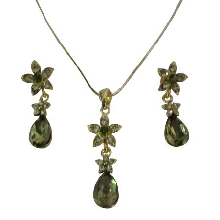 Golden Chain Necklace Olivine Teardrop Golden Flower Party Jewelry Set