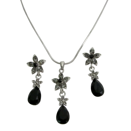 Black Crystal Wedding Jewelry Set Jet Crystals Teardrop Black diamondFlower Decorated Necklace Set Affordable Bridesmaid Jewelry Set