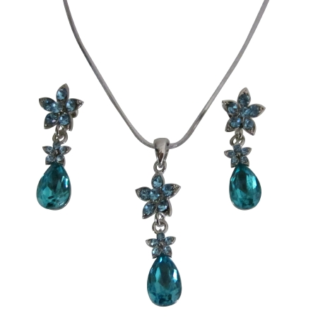 Prom Aquamarine Blue Crystal Necklace Set Aquamarine Crystals Teardrop Flower Decorated W/ Aquamarine Crystals Jewelry Set