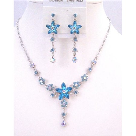 Aquamarine Flower Vintage Aquamarine Blue Crystal Wedding Jewelry Gift