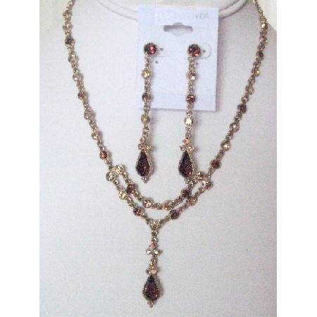 Victorian Necklace Set Vinatge Antique Gold Jewelry Set W/ Smoked topaz Crystal Embedded On Each Designed Flowers