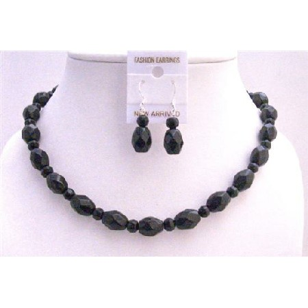 Handcrafted Custom Black Faceted Round w/ Oval Faceted Beads Necklace