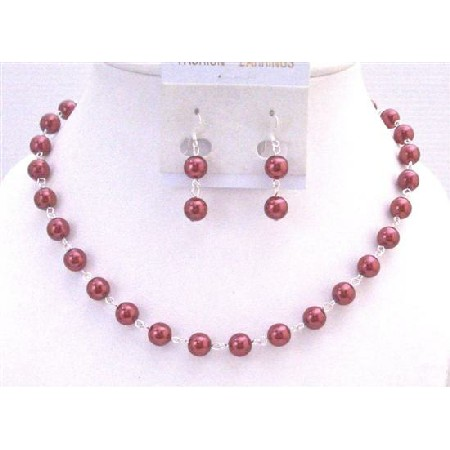 Red Pearl Necklace Set Silver Plated Chain Bridal Wedding Affordable Bridesmaid Necklace Valentine Red Jewelry Set