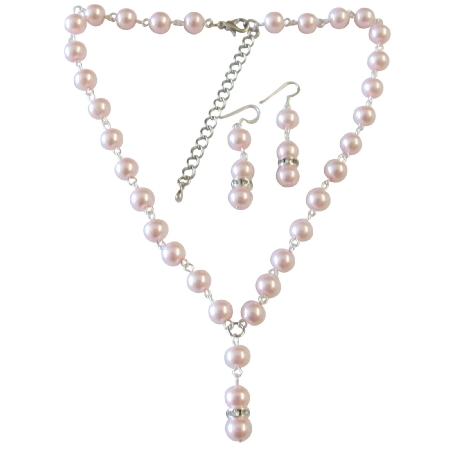Bridesmaid Jewelry Affordable Under $20 Pink Pearl Wedding Jewelry Beautiful Fashionable Inexpensvie Drop Down Necklace Customize Pearl Set