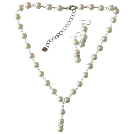 Beauftiful Ivory Pearl Sterling Silver Earrings Jewelry Set Gorgeous Bridal Bridesmaid Flower Girl Prom Jewelry Set