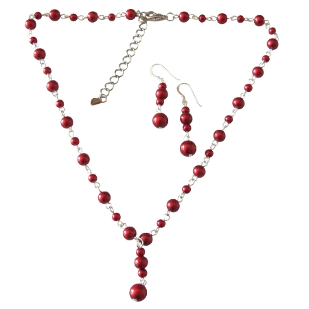 Sexy Romantic Valentine Red Jewelry Set Silver Chain Plated Necklace