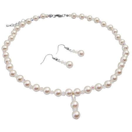 Ivory Pearl AB Crystals Necklace Sets Chines Crsystals At Affordable Inexpensive Bridal Bridesmaid Jewelry Set Drop Down Prom Ivory Pearl Set