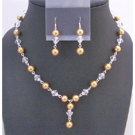 Golden Pearls Jewelry Chinese Clear Crystals Drop Down Necklace Set