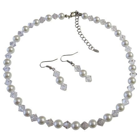 Exclusive Fashionable Bridesmaid Jewelry Clear Crystals & White Pearls
